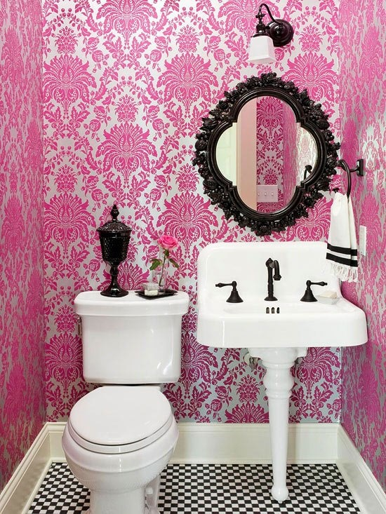 decoracao banheiro loja : decoracao banheiro loja:Hot Pink and Black Bathroom